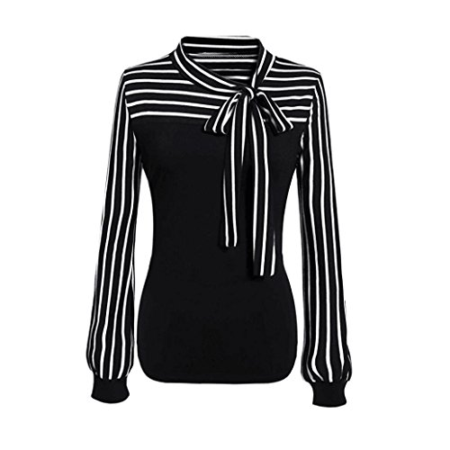 Goddessvan Women Casual Tie-Bow Neck Striped Long Sleeve Splicing Shirt Blouse (XL, Black)
