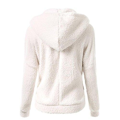 Sleeve Plus BURFLY Zipper Women Outwear Fashion Cotton Ladies Size Long White Coat Winter Hoodies Warm Casual Jumper Wool Sweater wwq46R0f