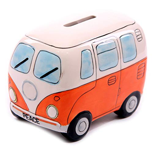 D-Sun 1Piece Fancy Camper Money Box Ceramic Camper Van Coin Piggy Bank Gifts for Kid Money Saving Box Bus Car Moneybox Orange