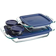 Pyrex Easy Grab 8-Piece Bake And Store Set, 1-Ea 3 Quart Oblong, 8-Inch Square, 2-Ea 1 Cup Round Storage Dishes with Blue Plastic Covers