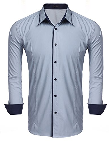 JINIDU Men's Slim Fit Striped Banded Collar Dress Shirt Casual Long Sleeve Button Down Shirt ()