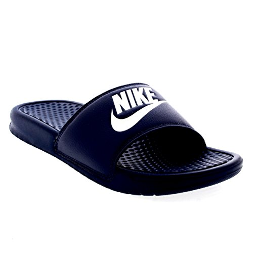 NIKE Mens Benassi JDI Lightweight Slides Beach Holiday Sandals Summer - Navy/White - 14