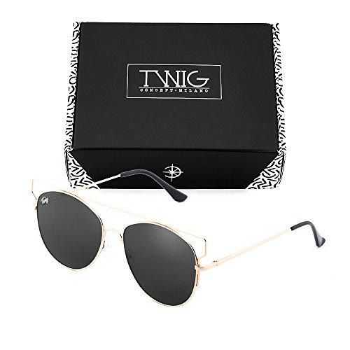 TWIG mujer Negro TZARA Gafas de sol Bronce degradadas espejo qxUxEawY8