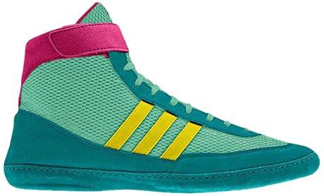 adidas Wrestling Men's Combat Speed 4-M, Emerald/Vivid Yellow/Blast Pink, 12.5 M US by adidas