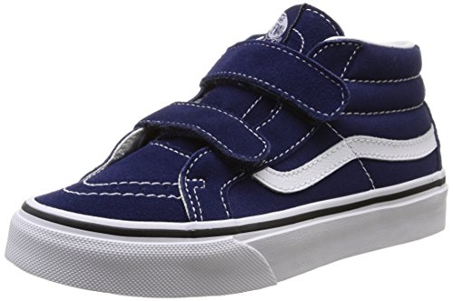 Vans Kids Sk8-Mid Reissue V Patriot Blue/True White Skate Shoe 2.5 Kids US (Vans Strap Shoes)