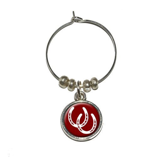 Graphics and More Horseshoes - Good Luck Wine Glass Charm Drink Stem Marker Ring