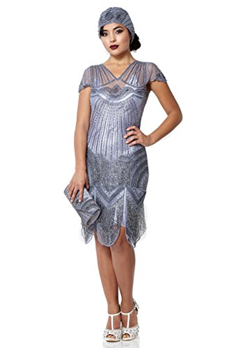 87bcafc1f02d New gatsbylady london Beatrice Vintage Inspired Fringe Flapper Dress Lilac  online