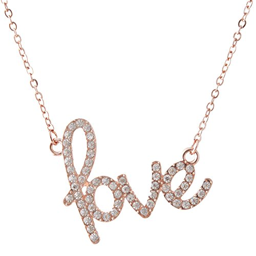 Love Necklace Crystal Jewelry Pendant - for Girlfriend/ Couples/ Wife/ Mom/ Women/ Sisters & All Family Female Member Especially for Valentine's Day Great Gift (Rose - Cheap Free Gifts Mother's Shipping Day