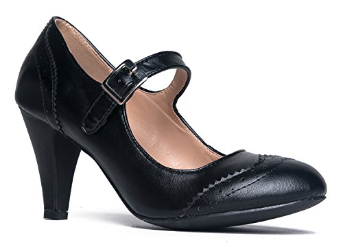 Kym Round Toe Oxford Heel, Black PU, 8.5 B(M) US