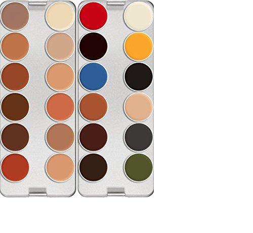 [Kryolan Rubber Mask Grease Palette 24 Colors 2586 PRO Makeup] (Grease Makeup)