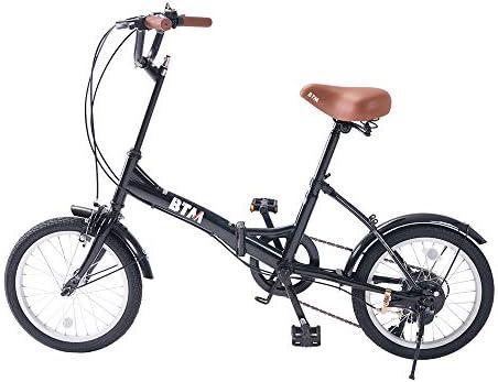折りたたみ 自転車 16インチ ライト付き 6段変速 ハンドルの高さ調節 前後泥よけ 軽量 ブラック