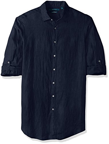 Perry Ellis Men's Big and Tall Solid Rolled-Sleeve Linen Shirt, NAVY-4CHW7681, 3X