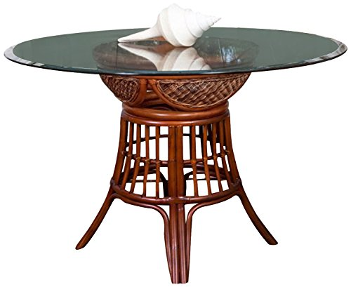 Alexander & Sheridan BER012-SI-GL48R Bermuda Dining Table Base in Sienna Finish with Round Tempered Bevel Edge Glass, 48