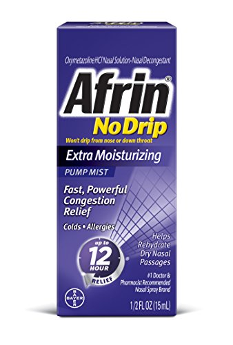 Afrin No Drip Extra Moisturizing Pump Mist 15 ml (Best Decongestant For High Blood Pressure)