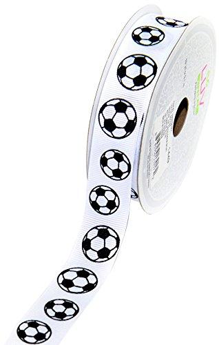 LUV RIBBONS GSO0708-SOC Grosgrain 7/8-Inch Sports Ribbon, 10-Yard, Soccer