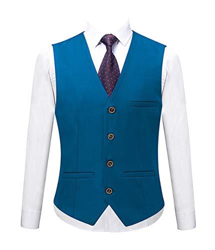 MOGU Mens Sea Blue Waistcoat US Size 38 (Label 3XL) Sea Blue