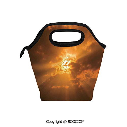 Sunburst Basket - Insulation portable lunch box bag Sun Through the Clouds in the Sky Sunburst View Decorating Picture Artwork Soft Fabric lunch bag Mummy bag.