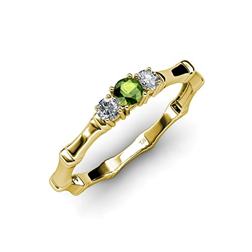 Green Garnet January Birthstone with Side Diamond Three Stone Bamboo Ring 14K Yellow Gold
