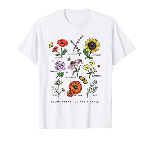 Bloom Where You Are Planted Botanical Flower T-Shirt