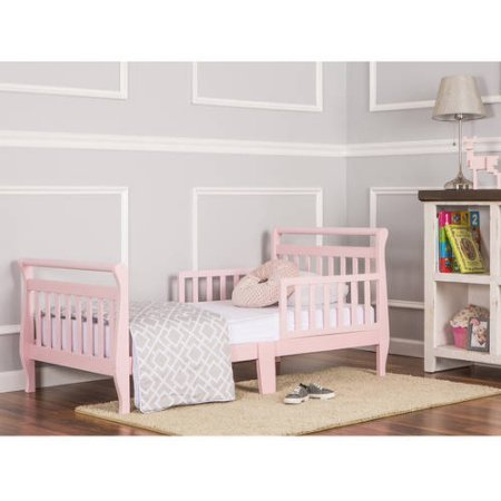 Dream On Me Sleigh Design Toddler Bed | 2- Side Safety Rails - Solid Wood, Pink