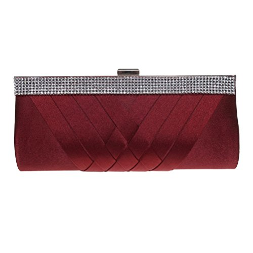 Fashion Road Evening Clutch, Womens Elegant Silk Rhinestone Clutch Purses, Handbag For Wedding & Party (Silk Rhinestone)