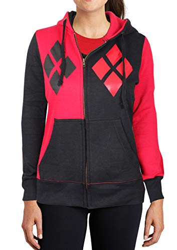 Harley Quinn Costume Zip up Hoodie - Womens Adult 100% Cotton Sweatshirt by Miracle (Red & Black, Small)]()