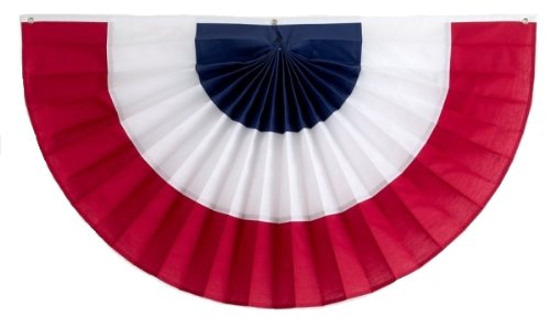 American Flag Bunting by Independence Bunting & Flag - American Made Bunting Banner! Fully Sewn 3 Stripe Patriotic Bunting makes your Home the envy of the neighborhood (Nylon, 36
