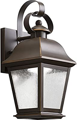 Kichler Lighting 9707BK Mount Vernon 1 Light Outdoor Wall Sconce,Black (Painted)