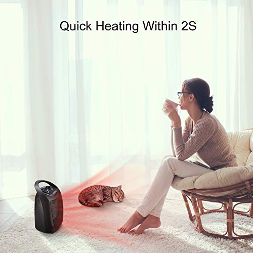 andily Compact Portable Ceramic Space Heater- with Adjustable Comfort control Thermostat, 3 settings, Easy grip handle, Great for use in Home, Dorm, Office Desktop, and kitchen, ETL for Safe (Black)