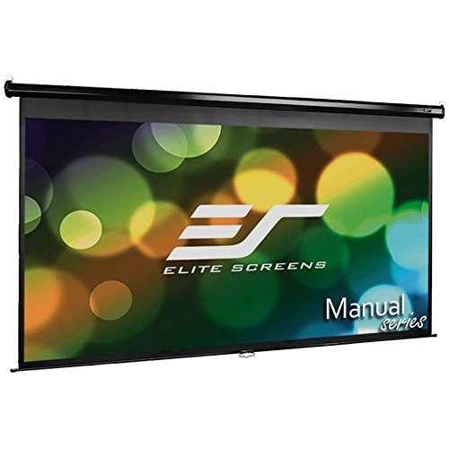 Elite Screens Manual, 100-inch 16:9, Pull Down Projection Manual  Projector Screen with Auto Lock, M100UWH (Black Windows Screen)