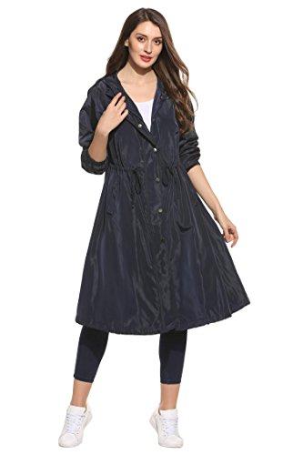 eshion Long Lightweight Mac Trench Coat Women Windbreak Hooded Waist Drawstring Oversized Parka Jacket with Zipper