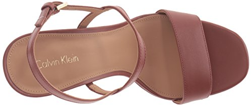 Calvin Klein Womens Bambii Leather Open Toe Casual Slingback Sandals Brandy Leather uQCBO1H