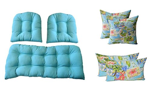 3 Pc Wicker Cushion Set - Solid Cancun Blue Cushions + 4 FREE Tropical Postcard Pillows - Indoor / Outdoor Fabric by Resort Spa Home