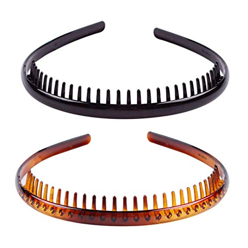 Set of 3 Strong Black Plastic Teeth Comb Hair Alice Headbands// Alicebands