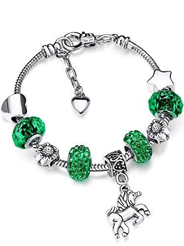 Zhanmai Unicorn Sparkly Crystal Charm Bracelet Bangle with Gift Box Set for Girl Lady