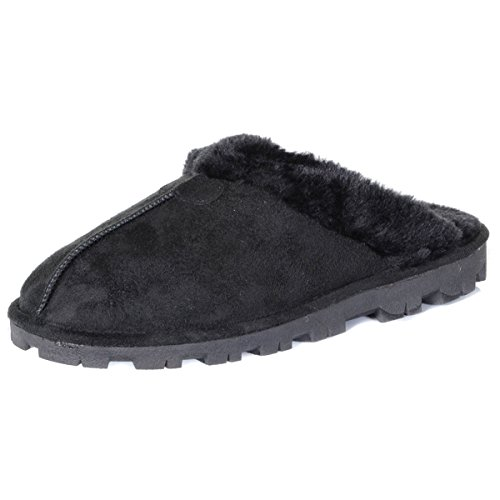 WOMENS SLIPPERS MULES WARM COMFORTABLE SLIP ONS LADIES GIRLS FAUX SHEEPSKIN SUEDE FUR LINED SLIPPER SHOES SIZE UK 3-8 Black q2tQx