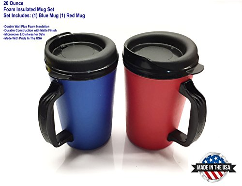GAMA Electronics 2 ThermoServ Foam Insulated Coffee Mug 20 oz w/Lids (1) Blue & (1) Red