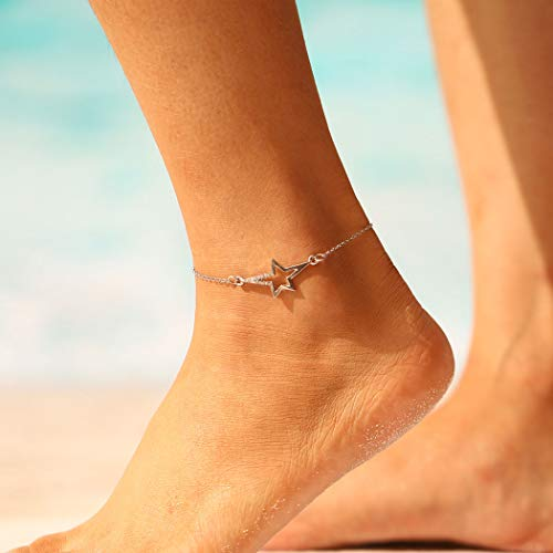 (Milanco Gypsy Beach Anklet Silver Star Anklets Fashion foot Jewelry Bracelets for Women and Teen Girls)