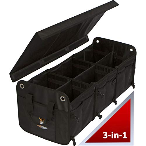 Tuff Viking SUV Trunk Organizer for Cars | Truck Bed Organizers for Car, SUV, Auto, Minivan, Jeep Accessories and Home 3-in-1 Convertible with Cover and Tie Down Straps (3-in-1 w/Cover, Black)