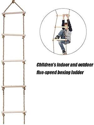 xiegons0 pe Escalera 5 peldaños Colgantes Niños Niñas Padres Niño Diversión Casa de Madera Swing Jardín Interior al aire libre Escalada Juguete Interactivo para Niños Regalo Fitness Equipo: Amazon.es: Deportes y aire