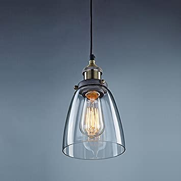CLAXY Ecopower Industrial Edison Mini Glass 1 Light Pendant Hanging Lamp  Fixture