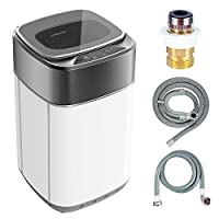 Portable Washing Machine Koswin Full-Automatic Portable Washer with 8 lbs Load Capacity 6 Washing Programs Up Drainage 1.0 Cu.ft Top Load LED Display White and Gray