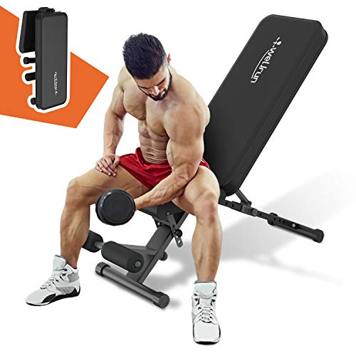Weight Bench Adjustable Sit Up Bench Press Flat Incline Decline Workout Bench Foldable Strength Training Benches for…