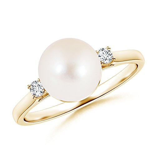 Ball Shaped Freshwater Cultured Pearl Solitaire Ring with Diamond Accents in 14K Yellow Gold (8mm Freshwater Cultured Pearl)