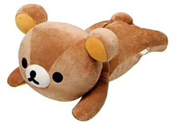 Gran peluche kawaii oso pardo Rilakkuma tumbado boca abajo