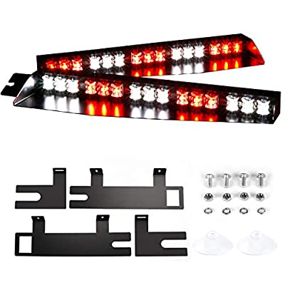 ABRIGHT Upgrade 30LED Visor Lights 26 Flash Patterns Windshield Emergency Hazard Warning Strobe Beacon Split Mount Deck Dash Lamp 180° optic (Red/White/Red/White): Automotive