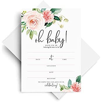 Bliss Collections Baby Shower Invitations With Envelopes Oh Floral Invites For Girl Boho Pink Blank Fill In 25 Pack Of 5x7 Cards