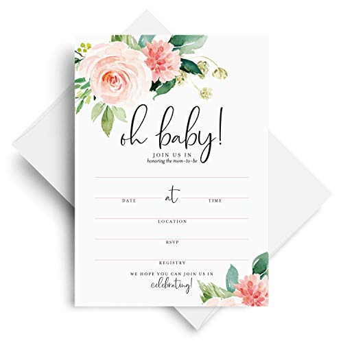 Floral Invite - Baby Shower Invitations with Envelopes - 5x7 Oh Baby Floral Invites for girl, Boho, Pink, Blank, Fill-In, from Bliss Collections (25 Pack)