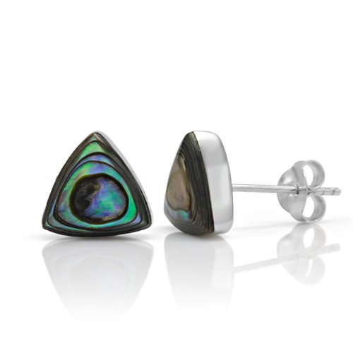 Silver Shell Post (925 Sterling Silver Tiny Green Abalone Shell Triangle 9 mm Post Stud Earrings)