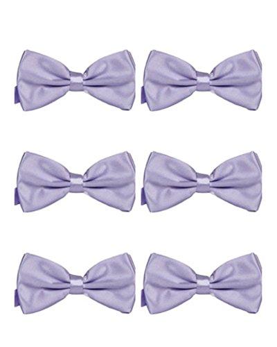 Formal Color Bowtie 6 Purple Tie Pack Wedding Men's Adjustable Bow MENDENG Light Solid Party 1qXPW